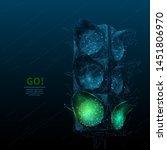 green traffic light low poly... | Shutterstock .eps vector #1451806970