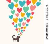 Cat In Love. Vector Illustration