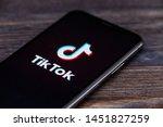 Small photo of Russia, Kazan May 28 2019: Tik Tok application icon on Apple iPhone X screen close-up. Tik Tok icon. tik tok application. Tiktok Social media network