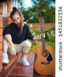 guitarist cool trendy girl with ... | Shutterstock . vector #1451832536