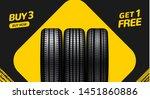 car tire sale banner  buy 3 get ... | Shutterstock .eps vector #1451860886