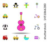 cartoon guitar toy colored icon....