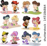 backpack,ball,beach,blonde,book,boy,brunet,cartoon,character,children,colorful,comic,face,family,friends