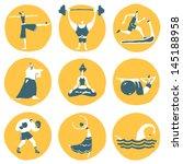 funny fitness sportsmen. vector ... | Shutterstock .eps vector #145188958