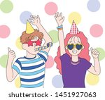 cute couple having party... | Shutterstock .eps vector #1451927063