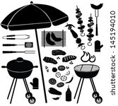 barbecue icons vector set. bbq... | Shutterstock .eps vector #145194010