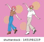 retro color and funny dancing... | Shutterstock .eps vector #1451981219