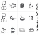 Cooking and kitchen icons set - stock vector