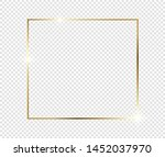 gold shiny glowing frame with... | Shutterstock .eps vector #1452037970