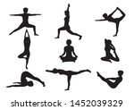 silhouette yoga pose by woman... | Shutterstock .eps vector #1452039329