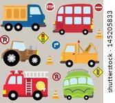 Cute Cartoon Vehicles Transport ...