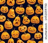 halloween pumpkins pattern.... | Shutterstock .eps vector #1452059750
