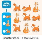 Stock vector count how many cats hares dogs is educational game maths task development of logical thinking of 1452060713