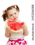 Child Girl Eating Watermelon...