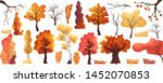 colorful autumn trees flat set...