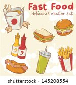 fastfood delicious hand drawn... | Shutterstock .eps vector #145208554