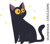 cute black cat with blinking... | Shutterstock .eps vector #1452122696