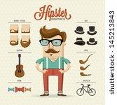 hipster character illustration... | Shutterstock .eps vector #145213843