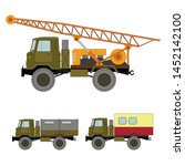 self propelled drilling rig and ... | Shutterstock .eps vector #1452142100
