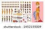 firefighter female character in ... | Shutterstock . vector #1452155009