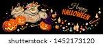 horizontal banner with pumpkins ... | Shutterstock .eps vector #1452173120