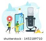 young people in headphones...   Shutterstock .eps vector #1452189710