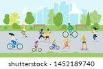 sport activity in park flat... | Shutterstock .eps vector #1452189740
