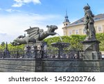 Lindworm Fountain - symbol landmark of the city Klagenfurt in Austria