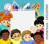 children around a sheet of... | Shutterstock .eps vector #145220560