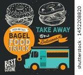 sandwich illustration   bagel ... | Shutterstock .eps vector #1452208820