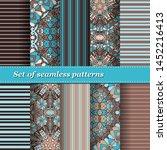 set of trendy seamless floral... | Shutterstock .eps vector #1452216413