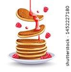 pancakes with raspberries on... | Shutterstock .eps vector #1452227180