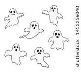 happy halloween ghosts set...   Shutterstock .eps vector #1452256040