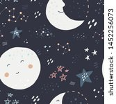 night sky hand drawn color... | Shutterstock .eps vector #1452256073