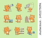 set of cute cartoon cat...   Shutterstock .eps vector #1452275096