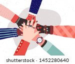 hands of diverse group of women ... | Shutterstock .eps vector #1452280640