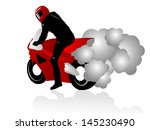 Vector illustration of motorcycle racer with smoking tires
