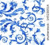seamless floral pattern  blue... | Shutterstock . vector #145230514