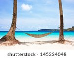 Hammock Between Palm Trees On...