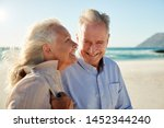senior white couple walking on... | Shutterstock . vector #1452344240