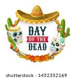 dia de los muertos  mexican day ... | Shutterstock .eps vector #1452352169