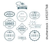 set of summer related vintage... | Shutterstock . vector #145237768