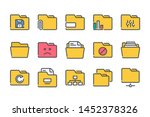 folder related color line icon...