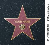 hollywood walk of fame star.... | Shutterstock .eps vector #1452381329