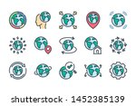 planet earth related color line ... | Shutterstock .eps vector #1452385139