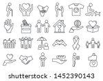 volunteering charity icons set. ...   Shutterstock . vector #1452390143