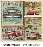 set of vintage car metal signs...   Shutterstock . vector #1452392840