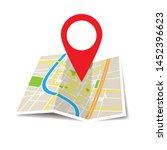 location icon vector. pin sign... | Shutterstock .eps vector #1452396623