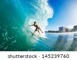 surfer on blue ocean wave... | Shutterstock . vector #145239760