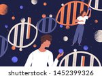 dna molecules  man and women... | Shutterstock .eps vector #1452399326